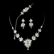 * Necklace Earring Bracelet Set 7226 Silver Clear