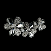 * Three Flower Silver Brooch 108 Encrusted with Austrian Crystals