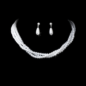 Necklace Earring Set 131 Silver White