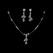 Sparkling Silver Clear Crystal Bead Necklace & Earring Set 522