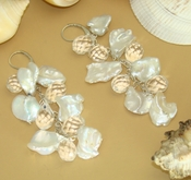 "Freshwater ""Keshi"" Pearls & Faceted Glass Crystals - Beach Bride Theme Earrings E 8197"