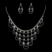 Fabulous Silver Chain & Clear Rhinestone Draped Necklace & Earring Set 3122