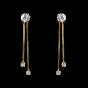 Gold Cubic Zirconia Solitaire Earrings E-3386-G (1 Left)