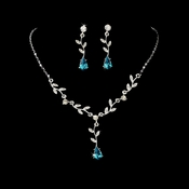 Necklace Earring Set 328 Dangle Silver Clear Teal