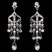 Sparkling Silver AB Crystal Drop Chandelier Earrings E 959