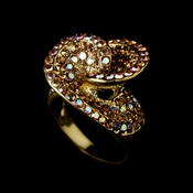Fabulous Gold and Lt Brown Champagne Crystal Ring 161