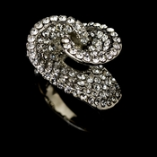 Swirl Crystal Silver Clear Ring 161