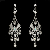 Dainty AB Iridescent & Clear Rhinestone Chandelier Floral Earring - E 8413