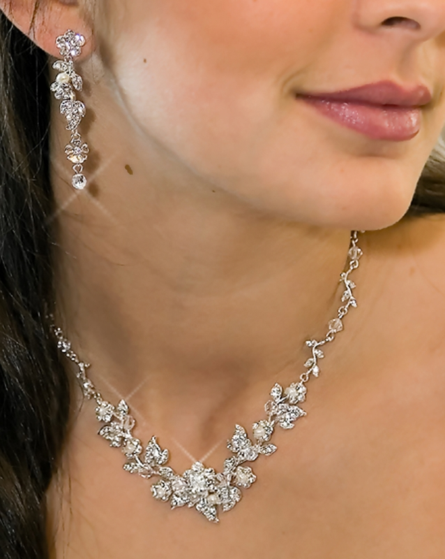 Swarovski Crystal Floral Bridal Jewelry Set Ne 1320