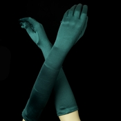 Satin Bridal Bridesmaid Gloves - Hunter Green