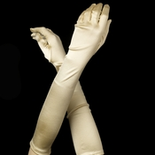 Satin Bridal Bridesmaid Gloves - Light Gold