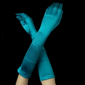 Satin Bridal Bridesmaid Gloves - Teal Green
