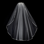 "VS 1E Ivory- 1/8"" Satin Ribbon Edge Veil, 1 Layer Elbow Length Veil (30"")"