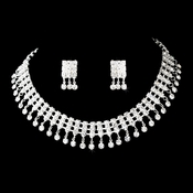 Necklace Earring Set 3095 Silver Clear **1 Left**
