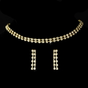 Glistening 2 Row Gold Clear Rhinestone Choker Necklace & Earring Set 10024
