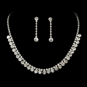 Stunning Silver Clear Rhinestone Necklace Earring Set 70654
