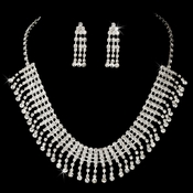 Rhinestone Choker Necklace  Earring Set NE 3094 Silver Clear