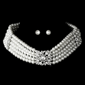 Adjustable Pearl Choker & Earring Set NE 8347