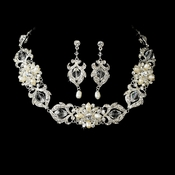 Necklace Earring Set NE 7844 Silver Ivory