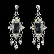 Vintage Silver & AB Crystal Drop Earrings E 936