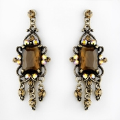 Vintage Gold Brown Crystal Drop Earrings E 936