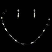 White Pearl & Swarovski Crystal Jewelry Set NE 226
