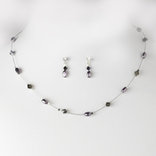 Plum Pearl & Swarovski Crystal Jewelry Set NE 226