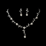 * Charming Silver Clear Rhinestone Necklace & Earring Set 383***Discontinued***
