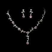 * Charming Silver Amethyst Rhinestone Necklace & Earring Set 383