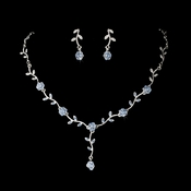* Charming Silver Blue Rhinestone Necklace & Earring Set 383