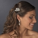 Couture Silver Clear Rhinestone & White Pearl Clustered Bridal Hair Comb 8398