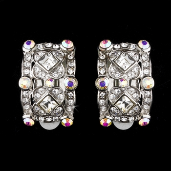 Vintage Silver & AB Crystal Clip On Earring E 933