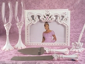 Pretty Pink Princess Guest Book Pen Flute & Cake Server Set