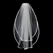 "VS F Ivory - 3/8"" Satin Ribbon Edge Veil, 2 Layers Fingertip Length Veil (30"" x 36"")"