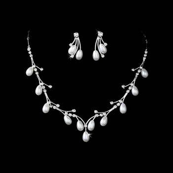 Necklace Earring Set NE 141 Silver White