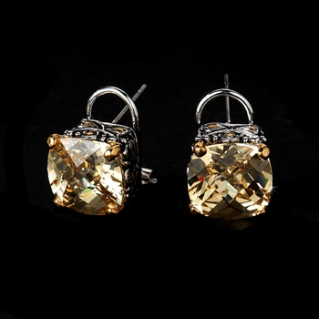 Antique Silver Champagne CZ Earring Set 4115