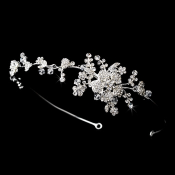 Headpiece 9952 Silver Clear Flower Vine