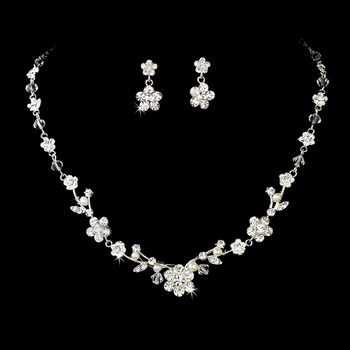 Necklace Earring Set NE 7203 Silver with Freshwater Pearl***Discontinued***
