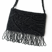 * Wonderful Black Satin Glass Bead Fringe Evening Bag 100