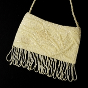 * Wonderful Ivory Satin Glass Bead Fringe Evening Bag 100