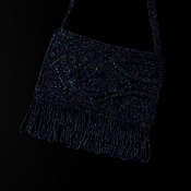 * Wonderful Navy Satin Glass Bead Fringe Evening Bag 100