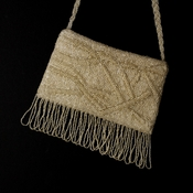 * Wonderful Silver Satin Glass Bead Fringe Evening Bag 100