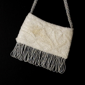 * Wonderful White Satin Glass Bead Fringe Evening Bag 100