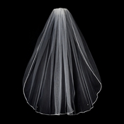 "VR 1E Ivory - Rattail Satin Corded Edge Veil, 1 Layer Elbow Length Veil (30"" long)"