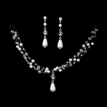 Charming Silver White Pearl & AB Crystal Bead Necklace & Earring Set 8146