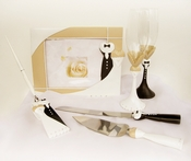 Splendid Black Tux Toasting Flutes, Guestbook & Pen Set - SERVER SOLD OUT