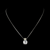 * Gorgeous Antique Silver Clear Cushion Cut CZ Necklace 3518