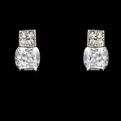 Elegant Silver Clear CZ Stud Earrings 3518