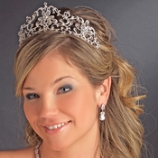 Elegant Bridal Tiara HP 13093***Irregular plating did not adhere to silver plating***