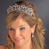 * Crystal Bridal Headpiece Tiara HP 13091***Slightly Irregular Yellow Marks On Rhodium***